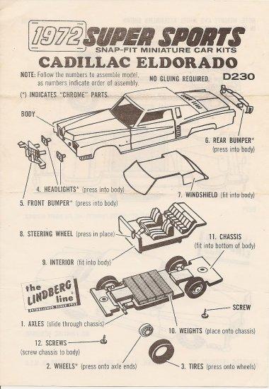 Inst Sheet 1972 Cadillac Eldorado Snap Fit