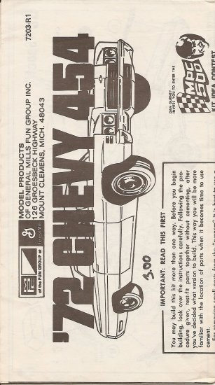 Inst Sheet 1972 Chevy 454