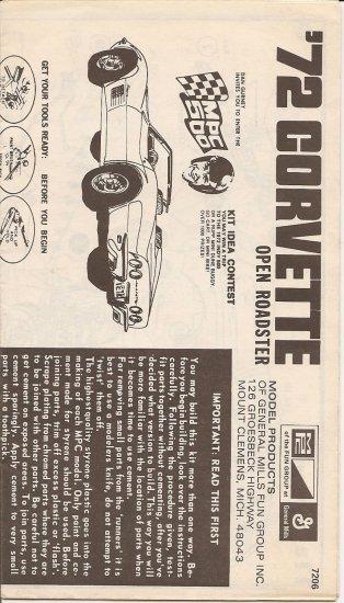 Inst Sheet 1972 Corvette Open roadster