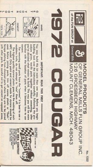 Inst Sheet 1972 Cougar