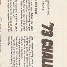 Inst Sheet 1973 Challenger