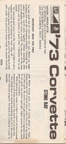 Inst Sheet 1973 Corvette Sting Ray