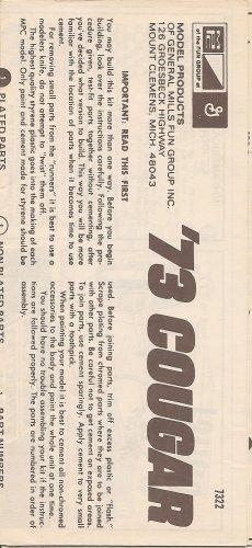 Inst Sheet 1973 Cougar