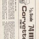 Inst Sheet 1974 Corvette Sting Ray