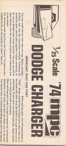 Inst Sheet 1974 Dodge Charger