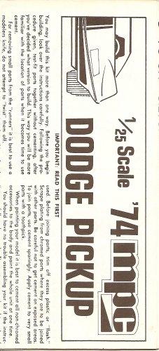 Inst Sheet 1974 Dodge Pickup