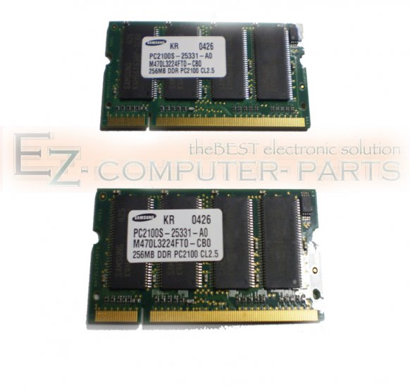 LOT OF 2 256MB DDR PC2100S 200PIN CL2.5 Memory *A*   !