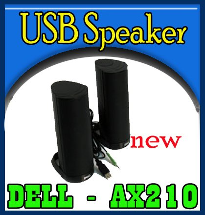 New Dell AX210 USB Stereo Speaker System for Laptop   `