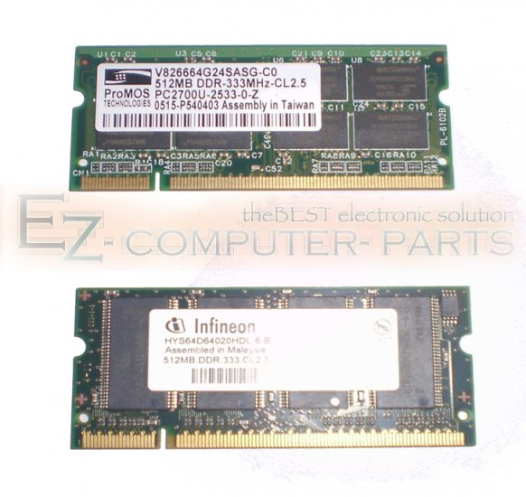 Lot of 2 Memory of 512MB DDR 333MHz Total 1024 Grade A!