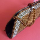 Brown and silver beaded fashionable purse