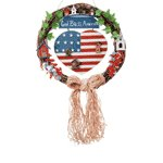 Wood God Bless America Wreath -32345