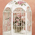 Distressed Beige Metal Birdcage -33209