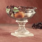 Glass Fruit Bowl On Alabastrite Stone-Finished Base -30657