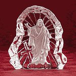 Clear Glass Carved Jesus -28316