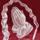 Cut Glass Block Paperweight - Praying Hands -31903