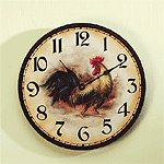 Wood Rooster Wall Clock -33167