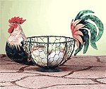 Painted Tin Rooster Wire Basket -33027