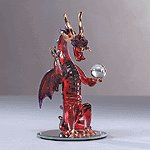 Glass Fiery Dragon Holding Ball -31066