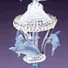 Glass Sculpture Color Dolphins Carousel -30308