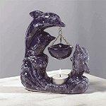 Porcelain Oil Burner - Marblelized Dolphins -30128