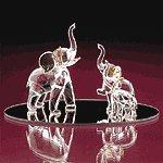 Glass Elephant With 2 Babies -25591