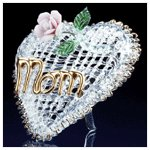 Glass Mom Heart and Flower -32460
