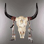 Eagle Head and Bull Skull Wall Sculpture -34230