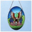 Art Glass Eagle, Flag Suncatcher -33609