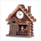 Wood Log Cabin Clock -33737
