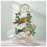 Metal Wine Rack with Roses -34140