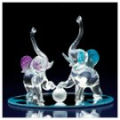Glass Playful Elephants -33918