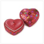 Beaded Heart Candle -36216