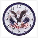 Wood Eagle and Flag Clock -34103