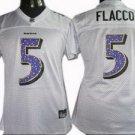 Joe Flacco #5 White Baltimore Ravens Women's Jersey