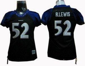 Ray Lewis #52 Black Baltimore Ravens Women's Jersey