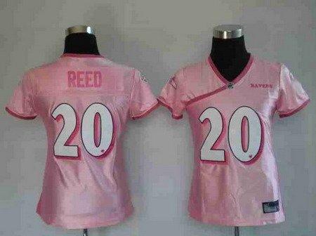 Ed Reed #20 Pink Baltimore Ravens Women's Jersey