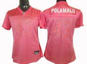 Troy Polamalu #43 Pink Pittsburgh Steelers Women's Jersey
