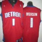 Allen Iverson #1 Red Detroit Pistons Men's Jersey