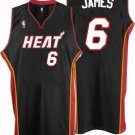 LeBron James #6 Black Miami Heat Men's Jersey