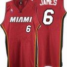 LeBron James #6 Red Miami Heat Men's Jersey