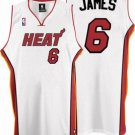 LeBron James #6 White Miami Heat Men's Jersey