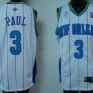 Chris Paul #3 White with Blue Stripes New Orleans Hornets Men's Jersey