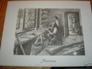 Pen and Ink Drawing Massachusetts by Gene Matras