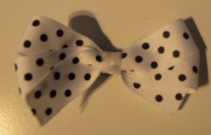 White Bow with Black dots
