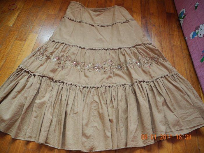 Brown Patterned Long Skirt