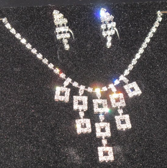 Wedding Bridal Rhinestone/Pearl Necklace & Earrings Set