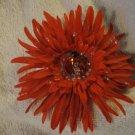 Large Red Silk Flower Barrette Surprise Center Handmade