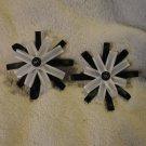 Barrette pair Pinwheel style black White Handmade