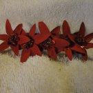 Barrette Dark Red Silk Star flowers Handmade