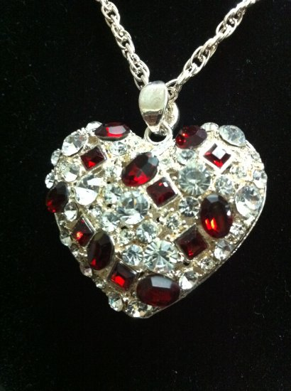 Fashion Womens Heart w/ Crystal, Red Stone Necklace (# 20100109)